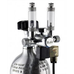 Dual compact regulator with electronic valve and bubble counter